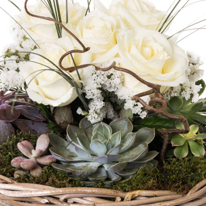 Cesta mimbre rosas y plantas -FH Floristería - Fernando hijo - Flores y decoración - Murcia